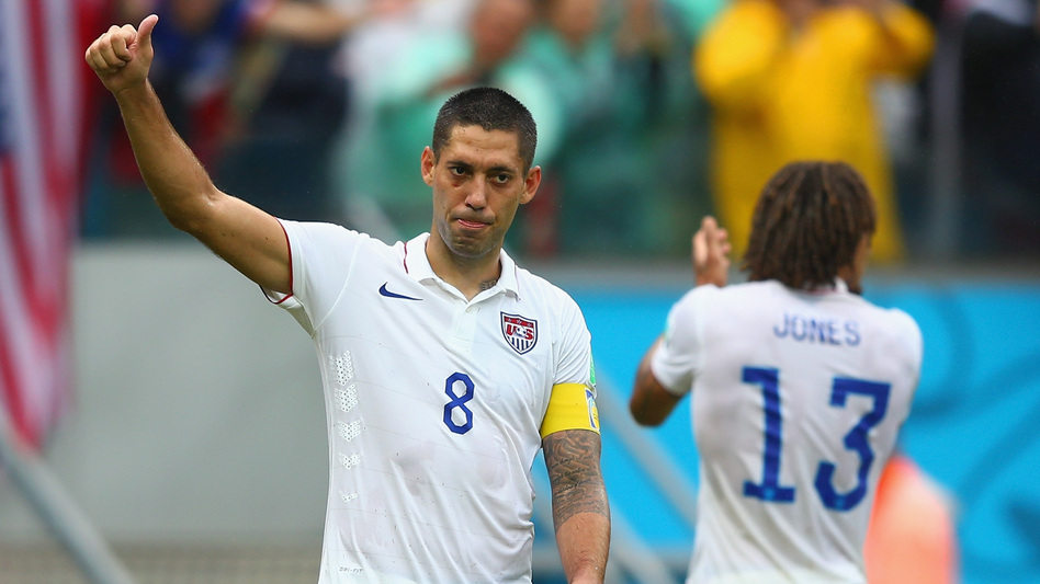American captain Clint Dempsey acknowledges the fans after the U.S. team's 1-0 loss to Germany at Arena Pernambuco in Recife, Brazil. The Americans finished second in the group, sending them into the knockout round. Michael Steele/Getty Images