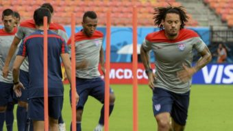Jermaine Jones and other members of the U.S. men's national team train in Manaus, Brazil. Fitness may be a crucial factor in the U.S.-Germany game on Thursday in Recife. Raphael Alves/AFP/Getty Images