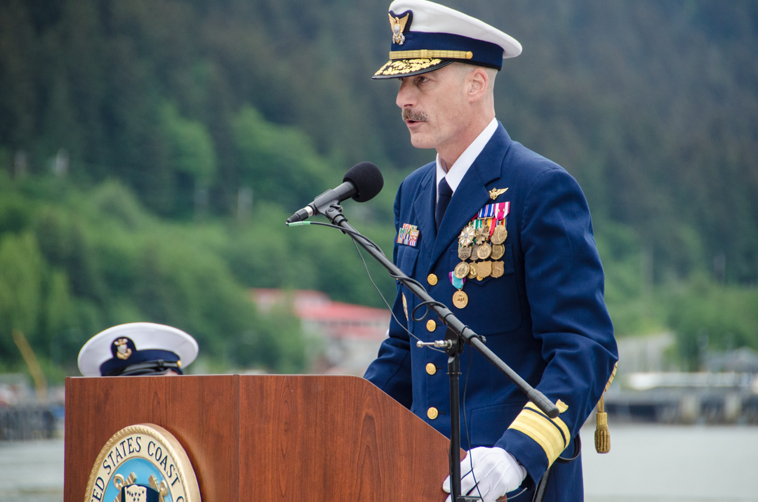 Rear Adm. Tom Ostebo thanked the men and women under his command. (Photo by Heather Bryant/KTOO)