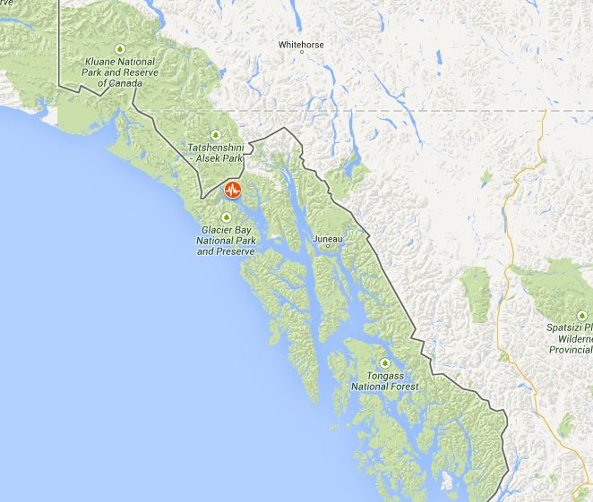 The epicenter was roughly 100 miles northwest of Juneau. (Map courtesy USGS/Google Public Alerts)