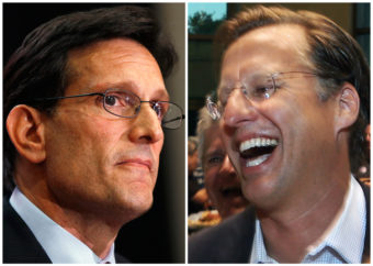 House Majority Leader Eric Cantor, R-Va., left, and Dave Brat react after the polls closed Tuesday. Brat defeated Cantor in the Republican primary, a result that shocked many political analysts. AP
