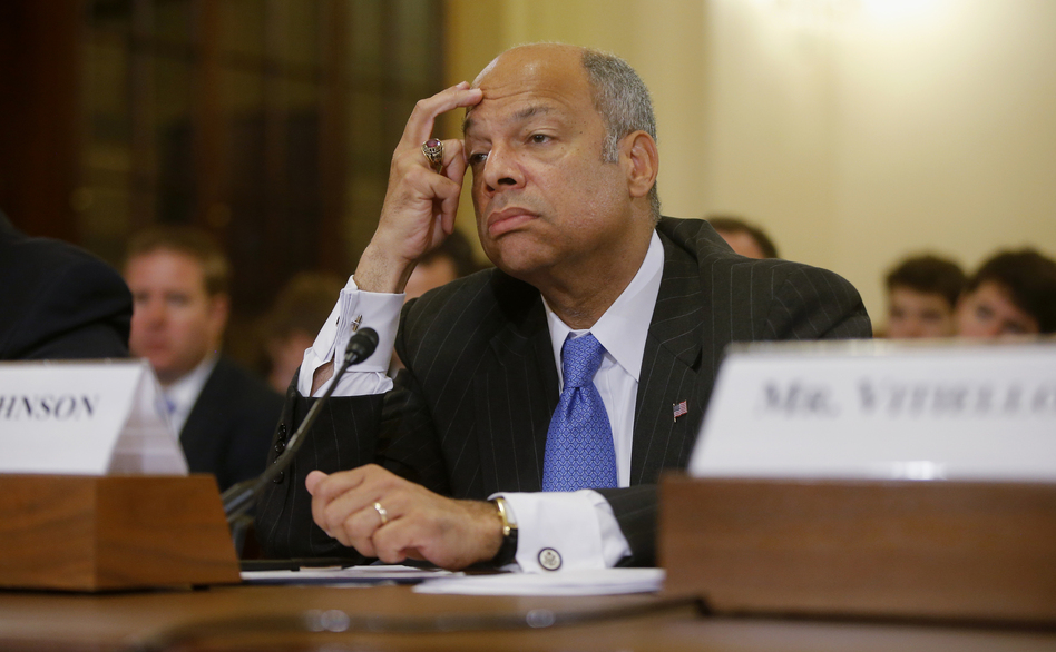 Homeland Security Secretary Jeh Johnson listens while testifying on Capitol Hill in Washington, on Tuesday. Charles Dharapak/AP