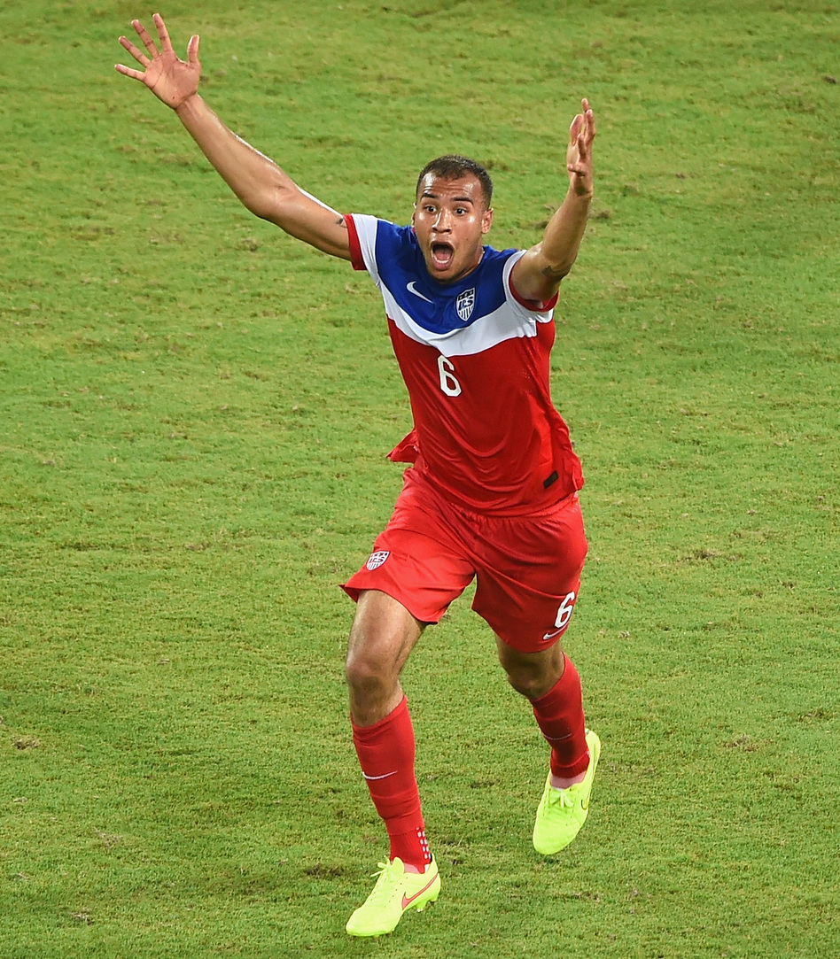 John Brooks of the United States celebrates after scoring his team's second goal during the 2014 FIFA World Cup Brazil Group G match between Ghana and the United States. Laurence Griffiths/Getty Images