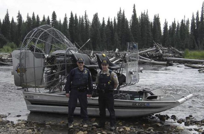 Wildlife Troopers with the Department of Public Safety using an airboat for river patrols. (Photo courtesy Alaska Wildlife Troopers)