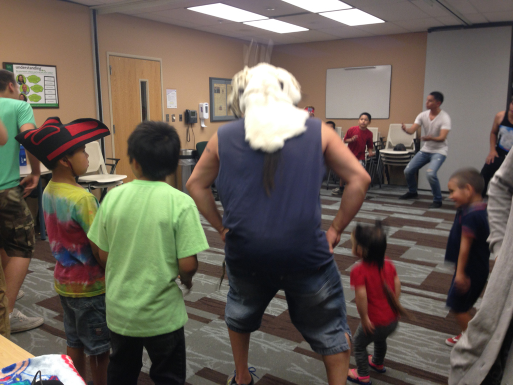 The Tlingit and Haida Dancers of Anchorage practice for Celebration. (Photo by Joaqlin Estus/KNBA)