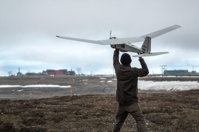 Pilot launches unmanned aircraft on North Slope. (Photo courtesy of BP)