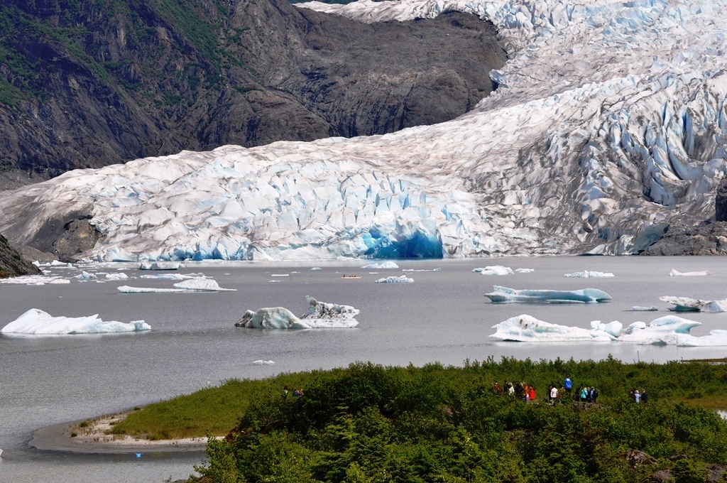 The deep blue ice after a recent calving at Mendenhall Glacier. Kayakers and rafters should stay away from the face of the glacier. (Photo courtesy Laurie Craig, USFS)