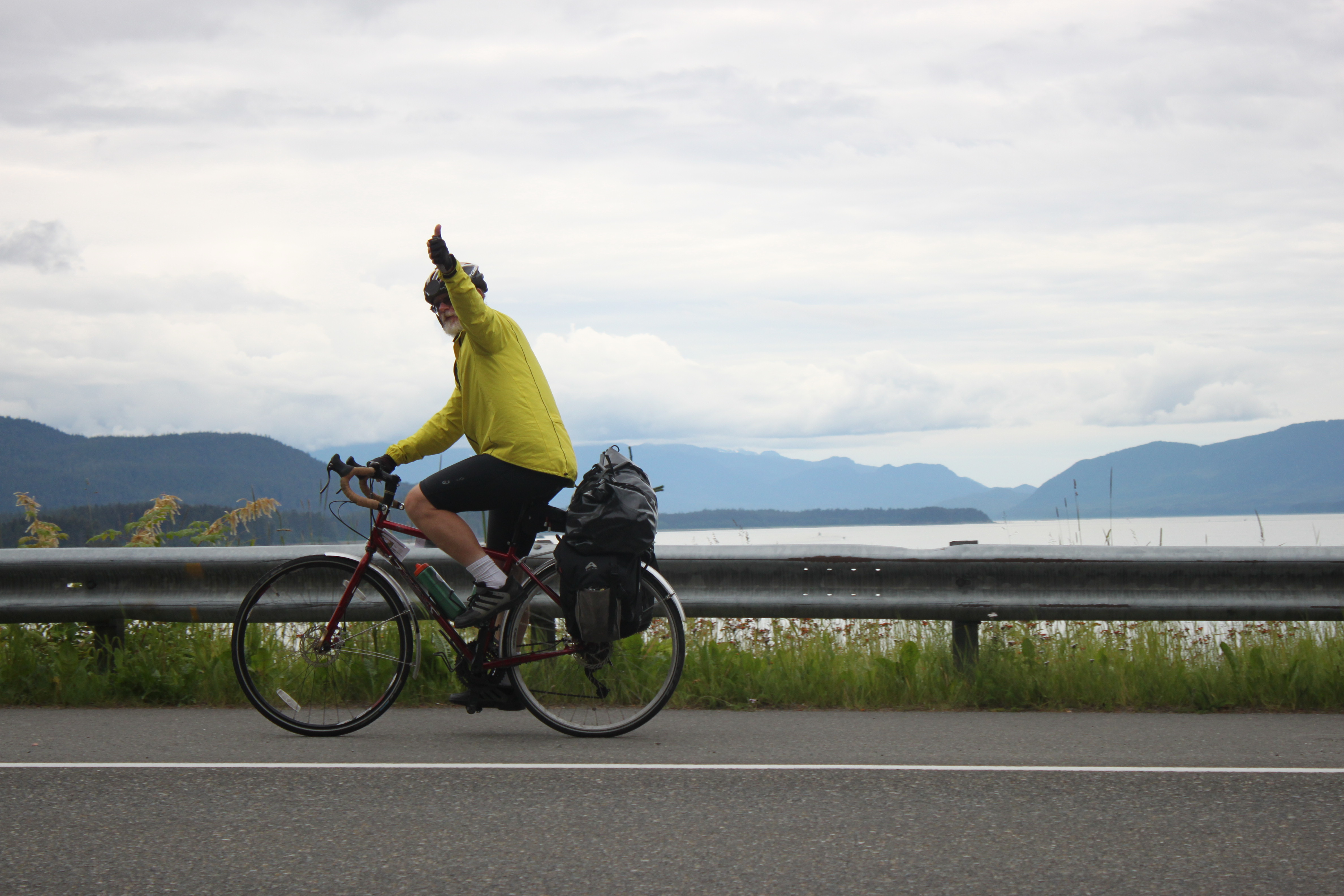 In Juneau: the final leg of Tom von Kaenel's 5,800-mile trip. (Photo by Lisa Phu/KTOO)