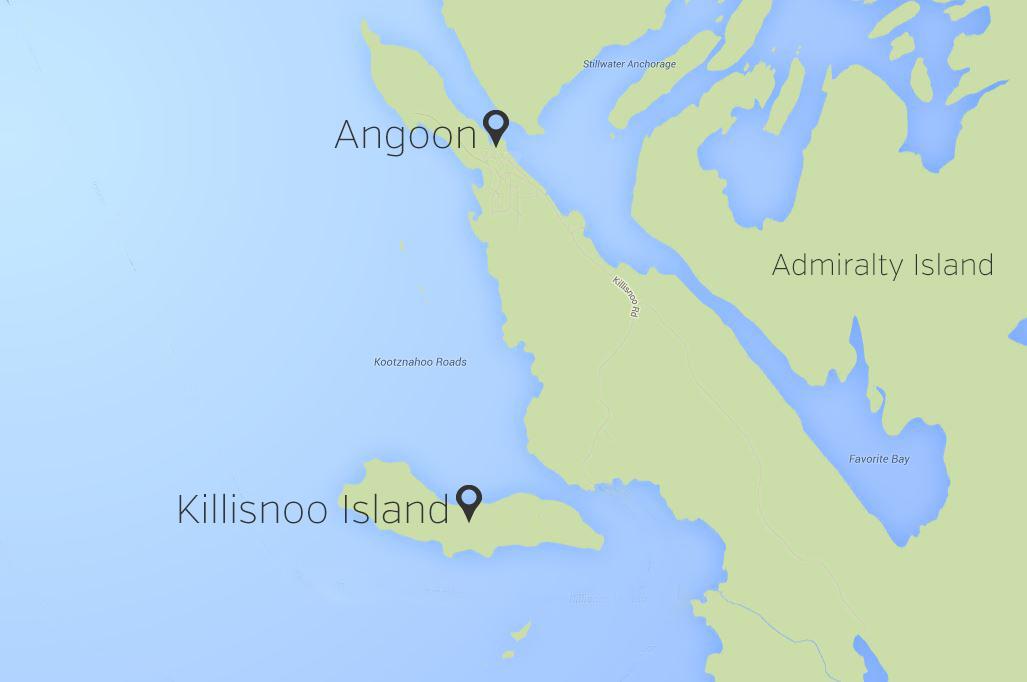 Map of Killisnoo Island and Angoon, Alaska.