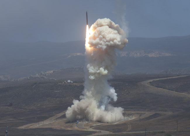 The Missile Defense Agency's Flight Test 06b Ground-Based Interceptor launches from Vandenberg Air Force Base, Calif. on June 22, 2014. (Photo courtesy U.S. Missile Defense Agency)