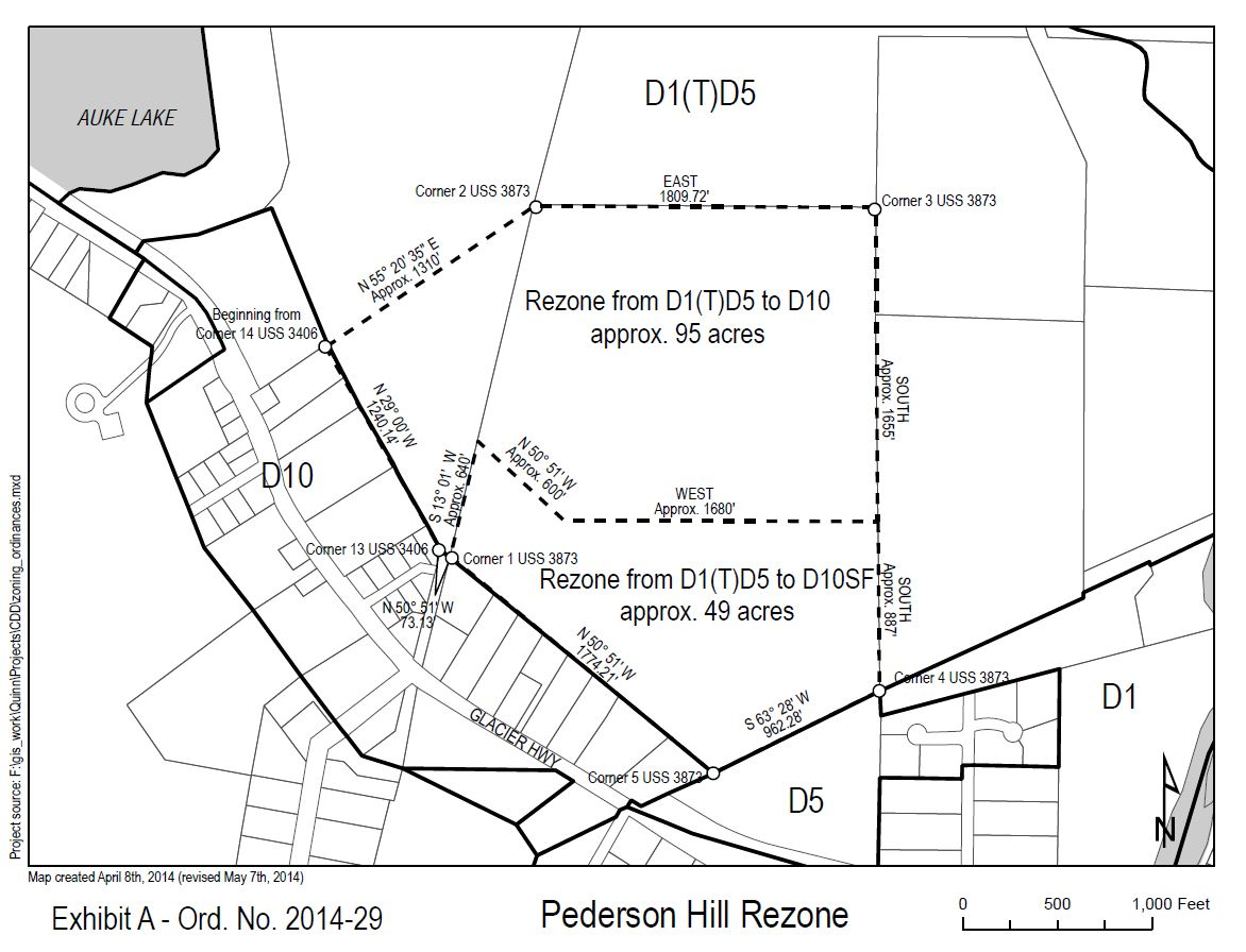 A map of the proposed Pederson Hill rezoning. The change could lead to hundreds of new homes. (Courtesy CBJ)