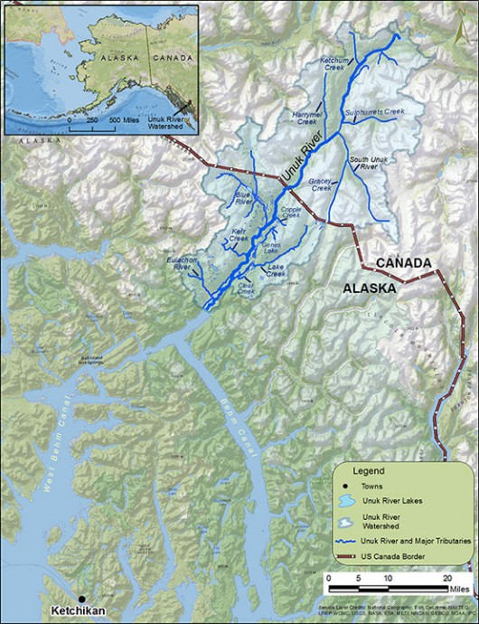 Two overdue boaters were found safe early Tuesday afternoon on a beach in the Unuk River area north of Behm Canal. (Map of the Unuk River area courtesy Alaska Department of Fish and Game)