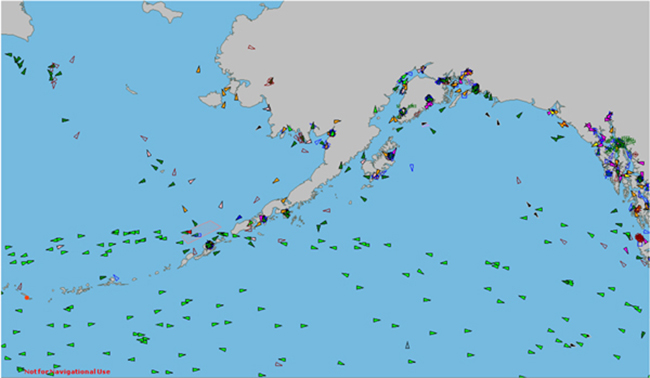 Vessel traffic around Alaska. (Graphic from Marine Exchange of Alaska)