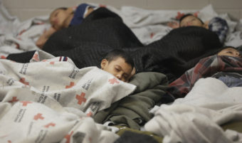 Children detainees sleep in a holding cell at a U.S. Customs and Border Protection processing facility in Brownsville,Texas. Eric Gay/AP