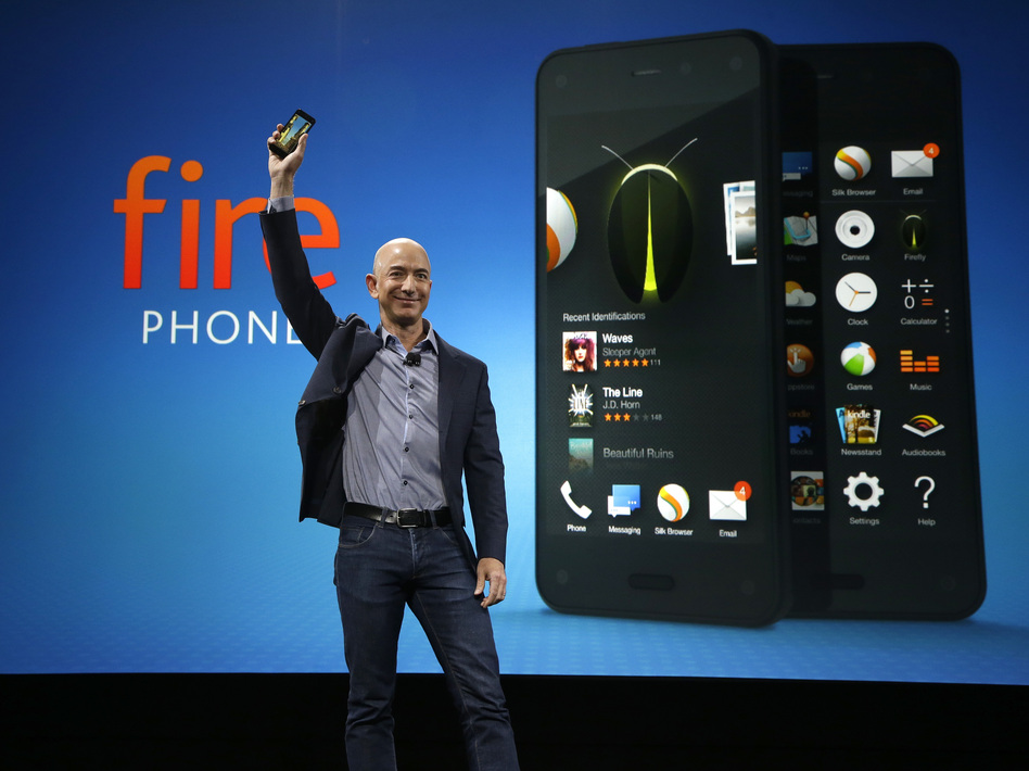 Amazon CEO Jeff Bezos introduces the new Amazon Fire Phone on Wednesday, in Seattle. Ted S. Warren/AP