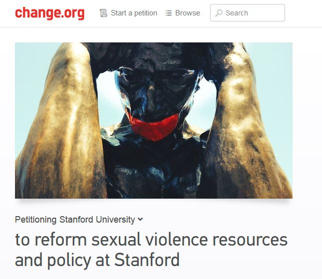 An online petition calling on Stanford University to reform its policies around sexual assault.