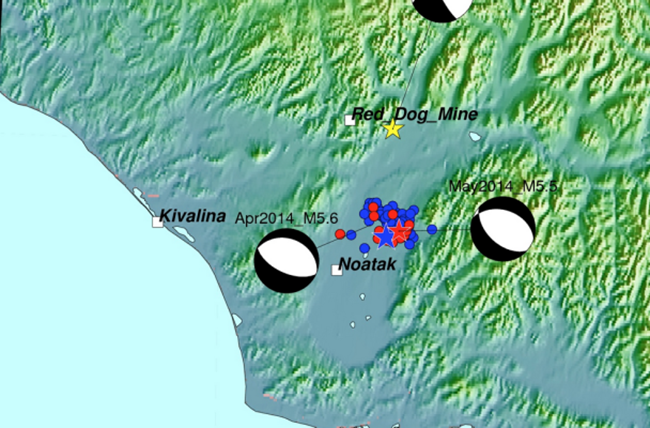 Map for April and May 2014 Earthquakes in Northwestern Alaska. (Map courtesy Alaska Earthquake Center)