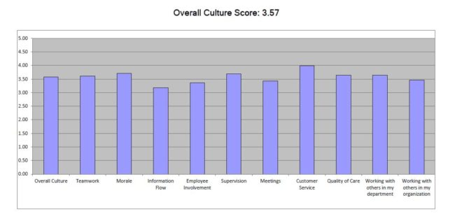 Hospital employees were surveyed on various categories of work culture. The scores ranged from a low of 1.0 to a high of 5.0. (Graph courtesy of Bartlett Regional Hospital)