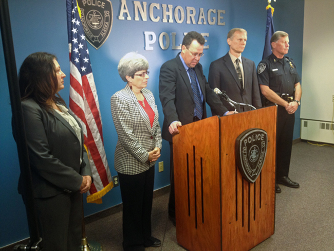 Law enforcement officials address the media regarding updates in the Joshua Wade case. (Photo by Josh Edge, APRN – Anchorage)