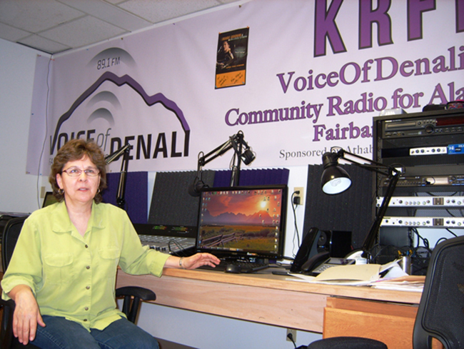 Athabascan Fiddlers Association General Manager Ann Fears in the KRFF studio on College Road in Fairbanks. (Photo by Tim Ellis/KUAC)