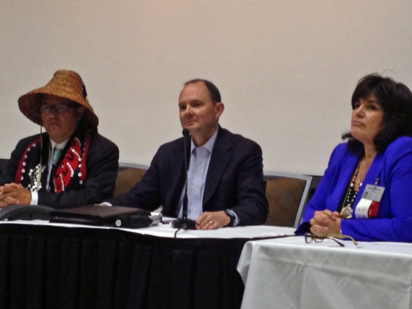 NCAI President Brian Cladoosby, middle, BIA undersecretary for Indian Affairs Kevin Washburn, middle, and NCAI executive director Jacqueline Pata, left. (Photo by Lori Townsend, APRN – Anchorage)