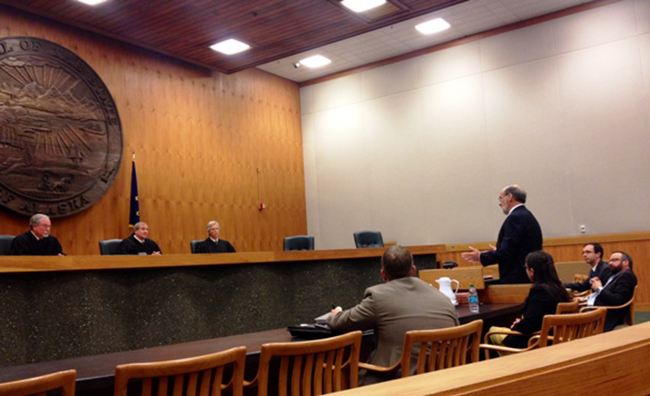 The Alaska Supreme Court heard arguments on the Pebble Initiative yesterday. (Alexandra Gutierrez/Alaska Public Media)