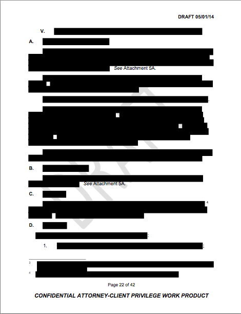 Redacted page in the Bethel investigation report.
