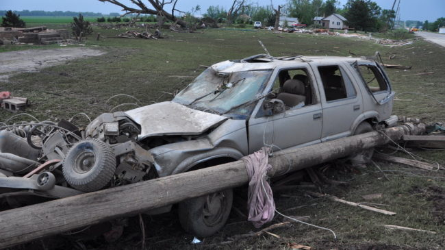 Damage is seen along Highway 15 in Pilger, Neb., Tuesday. A pair of tornadoes hit the area Monday evening. Ryan Robertson /NET News