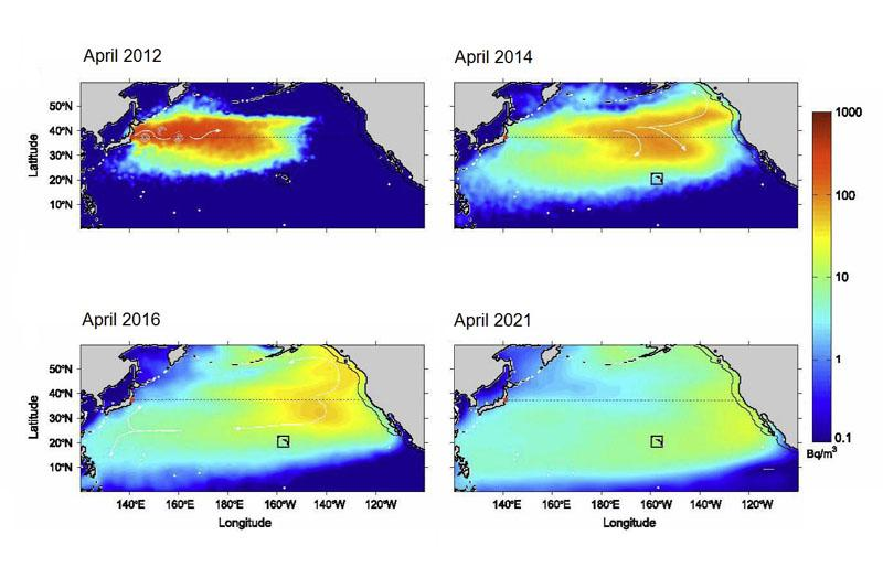 Fukushima seawater radiation plume dispersal model by Rossi et. al. (Chart by Vincent Rossi et. al., Deep-Sea Research journal)