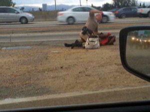 In this July 1 image from video provided by motorist David Diaz, a California Highway Patrol officer straddles a woman while punching her on the shoulder of a Los Angeles freeway. David Diaz/AP