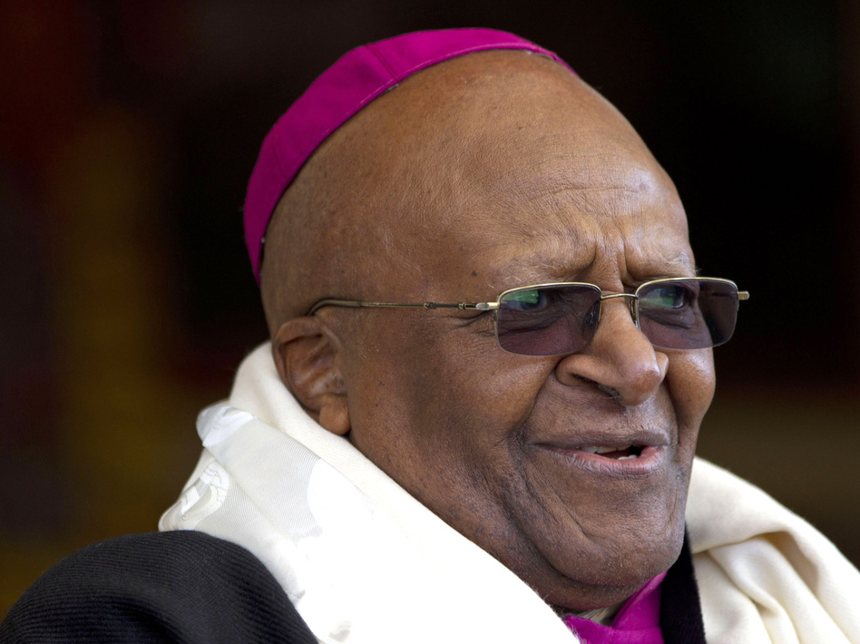 Archbishop Desmond Tutu, who was awarded the Nobel Peace Prize for his part in fighting apartheid, photographed in India in 2012. Ashwini Bhatia/AP