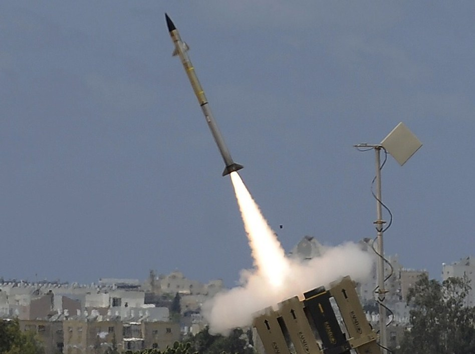 "A missile leaves an ""Iron Dome"" battery, Israel's short-range missile defense system, Monday. Israel shot down a drone Monday, using a Patriot missile to take out the unmanned aircraft. David Buimovitch/AFP/Getty Images"