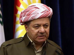 At a news conference last month, Iraqi Kurdish leader Massoud Barzani said there was no going back on autonomous Kurdish rule in the oil center of Kirkuk. Safin Hamed/AFP/Getty Images