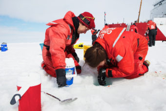 Researchers collect water samples in the Chukchi Sea. (Photo courtesy of Amanda Kowalski/ArcticSpring.org)