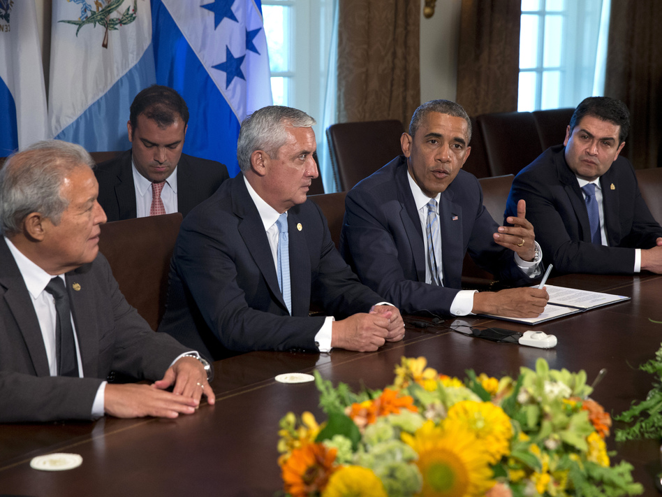 At the White House on Friday, President Obama met with El Salvador's President Salvador Sanchez Ceren (from left), Guatemalan President Otto Perez Molina and Honduran President Juan Orlando Hernandez to discuss the border crisis. AP
