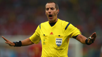 Referee Mark Geiger will be the U.S. presence at the World Cup semifinal on Tuesday. Clive Rose/Getty Images