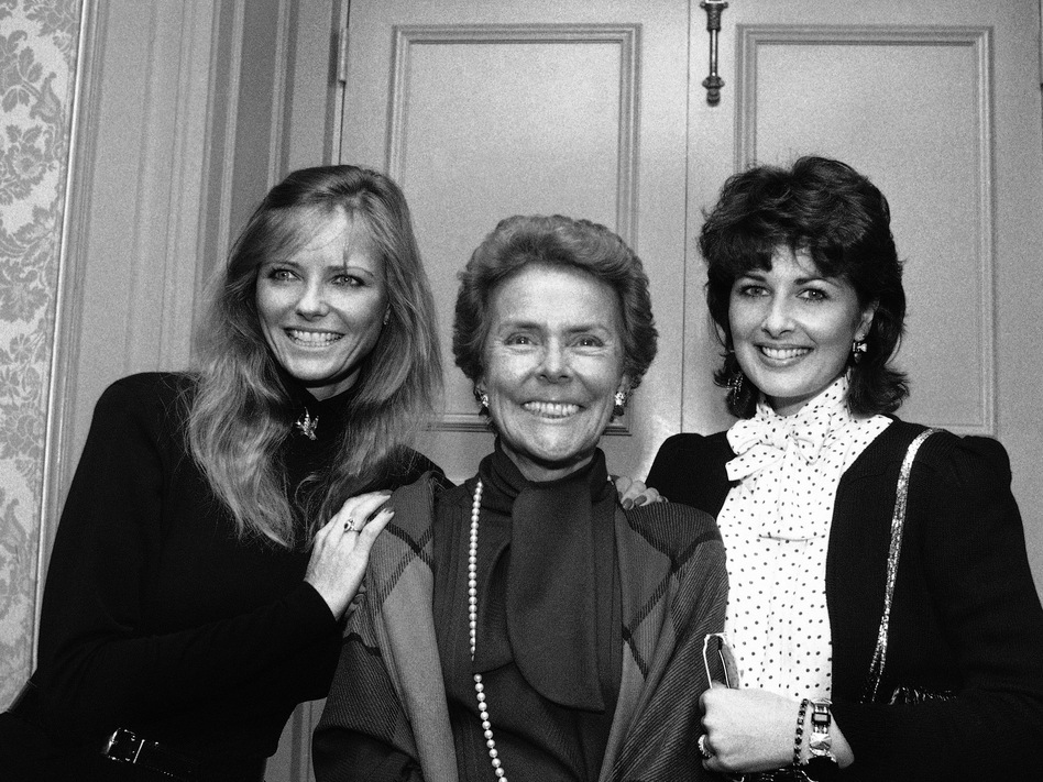 Eileen Ford with two of her famous models, Cheryl Tiegs (left) and Cristina Ferrare, in New York in 1983. Ford died on Wednesday at age 92. Marty Lederhandler/AP