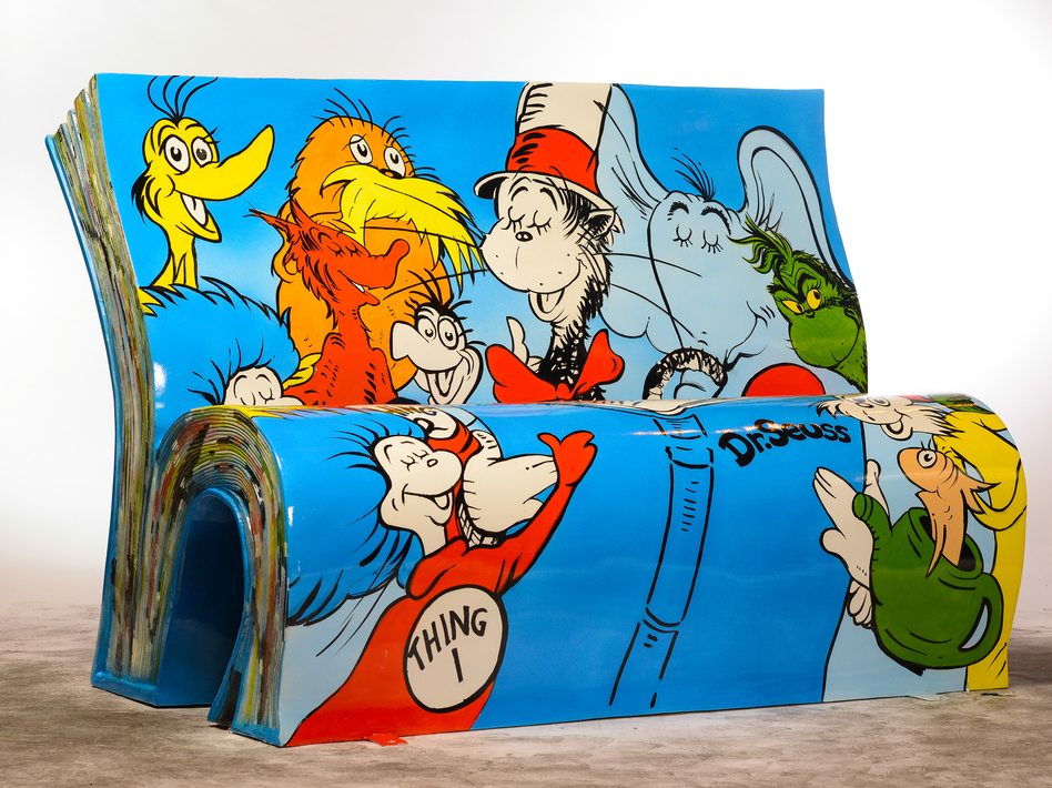 Jane Headford designed this Dr. Seuss bench, which is spending the summer alongside the River Thames Courtesy of The National Literacy Trust