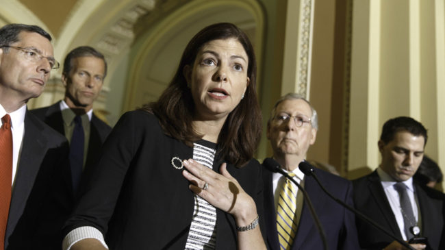 GOP Sen. Kelly Ayotte of New Hampshire complained about a Democratic effort to reaffirm a contraceptive mandate at a Tuesday news conference J. Scott Applewhite/AP