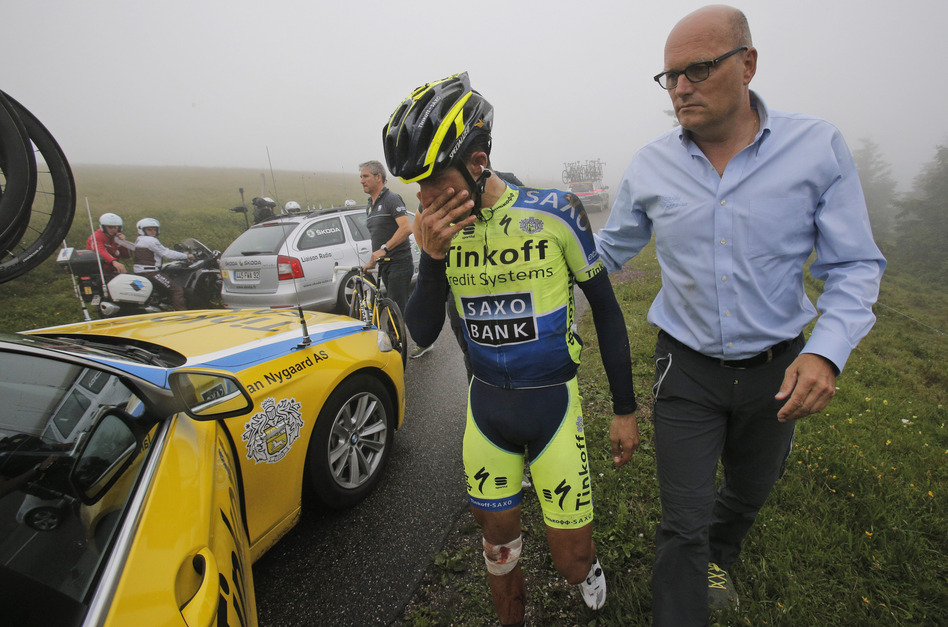 Spain's Alberto Contador abandons the Tour de France after crashing during the 10th stage Monday. Christophe Ena/AP