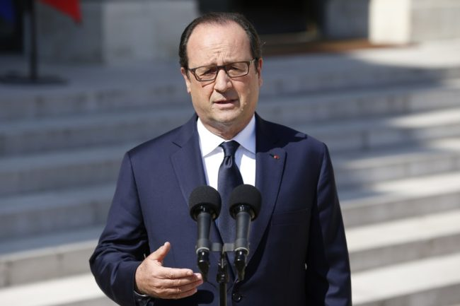 French President François Hollande speaks to the press at the Elysee Palace in Paris on Friday. Kenzo Tribouillard/AFP/Getty Images