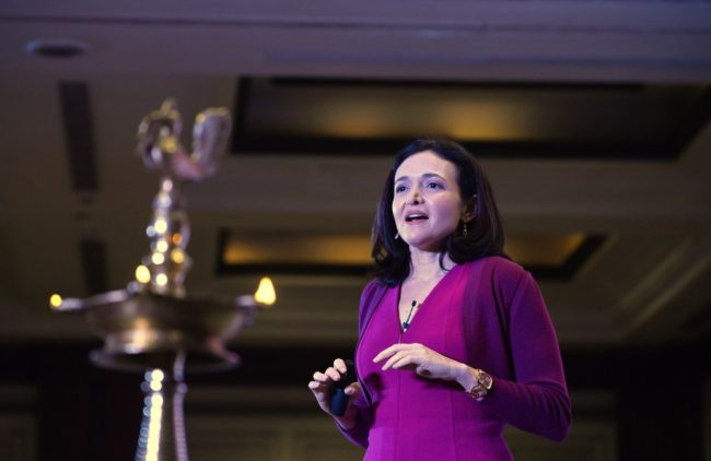 Facebook chief operating officer Sheryl Sandberg addresses an interactive session organized by the women's wing of the Federation of Indian Chambers of Commerce and Industry (FICCI) in New Delhi on Wednesday. Chandan Khanna /AFP/Getty Images