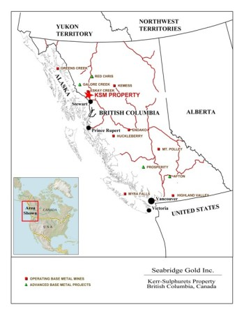 The KSM, Red Chris and Galore Creek projects are among several planned for northwest British Columbia, near the Alaska border. (Map courtesy Seabridge Gold)