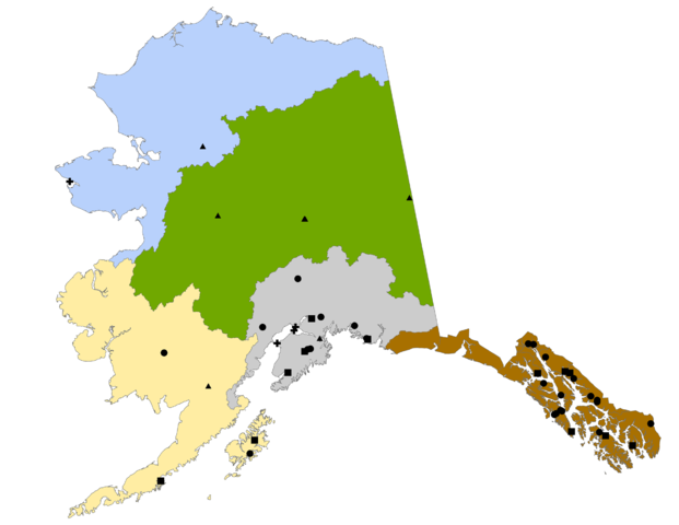 A map showing all of the hydrokinetic and hydropower projects in Alaska (Map courtesy National Oceanic and Atmospheric Administration, Alaska).