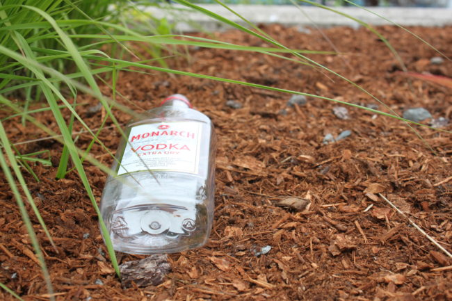 It's not unusual to find empty alcohol bottles and cans littering parts of downtown. (Photo by Lisa Phu/KTOO)
