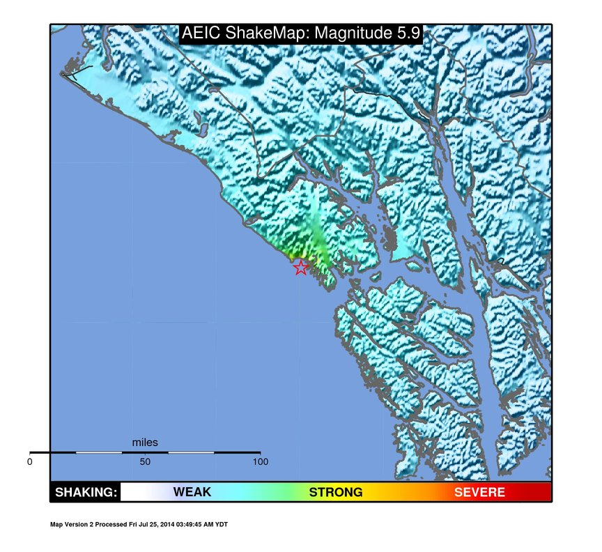 Friday's 5.9 magnitude earthquake centered about 97 miles west of Juneau is one of a handful of quakes to hit recently in Southeast Alaska. (Image courtesy Alaska Earthquake Information Center)