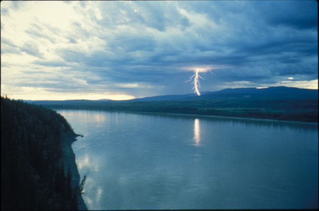 Lightning strikes somewhere in the Ray Mountains north of the Yukon River. (Photo by Ned Rozell)
