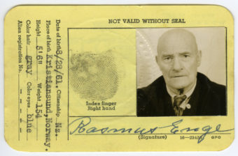 Rasmus Enge's WWII Coast Guard identification card. (Photo courtesy of the Clausen Museum)