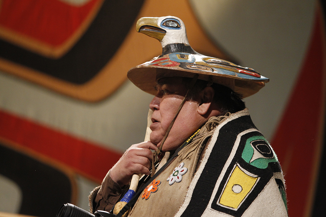 Shangukeidí (Thunderbird) Clan Leader David Katzeek wearing a clan hat at Celebration 2010. (Photo by Brian Wallace/Courtesy of Sealaska Heritage Institute)