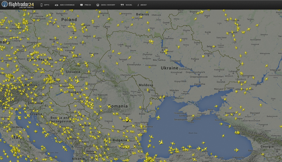 This screen grab from Flightradar24.com shows the pocket of open airspace above Ukraine after a Malaysia Airlines flight crashed in the eastern part of the country. Flightradar24.com